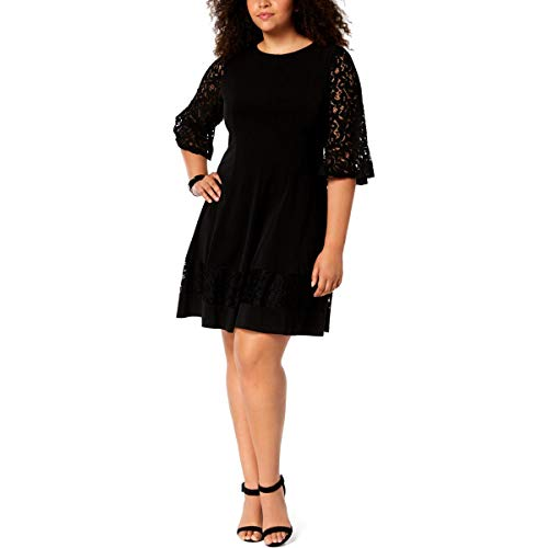 - Jessica Howard Womens Plus Jersey Bell Sleeves Cocktail Dress Black 18W