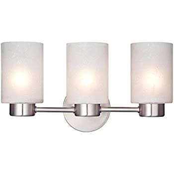 Westinghouse 6227900 Sylvestre Three-Light Interior Wall Fixture, Brushed Nickel Finish with Frosted Seeded Glass
