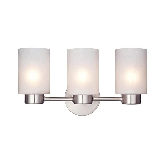 Westinghouse Lighting 6227900 Sylvestre Interior Wall Fixture, Brushed Nickel Finish with Frosted Seeded Glass, 3, Bn Three Light - Modern interior wall fixture with three lights Brushed nickel finish, frosted seeded glass 8-1/4 Inch high; 15-3/4 Inch wide; extends 6-1/4 Inch from wall - bathroom-lights, bathroom-fixtures-hardware, bathroom - 31XTJp4xrXL. SS570  -