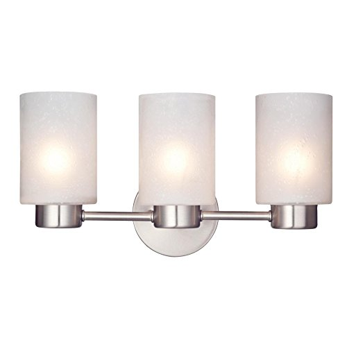 Light Nickel Fixtures Brushed Bathroom (Westinghouse 6227900 Sylvestre Three-Light Interior Wall Fixture, Brushed Nickel Finish with Frosted Seeded Glass)