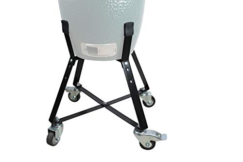 WRKAMA Rolling Cart Nest for Small Big Green Egg Locking Kamado Classic Accessories Joe Ceramic Grill Rolling cart nest with Heavy Duty Locking Caster Wheels Powder Coated Steel Rolling Outdoor Cart ()