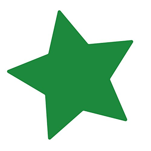 LiteMark Removable Green 4 Inch Star Decal Stickers Walls, Ceiling Floor - Pack of 15