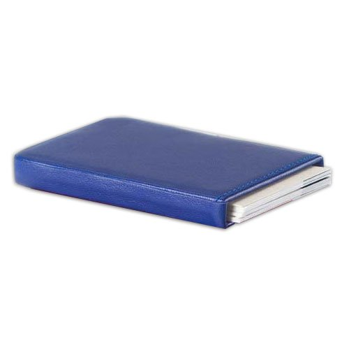3.75' Blue Leather - Bridle Business Card Slide Case in Blue