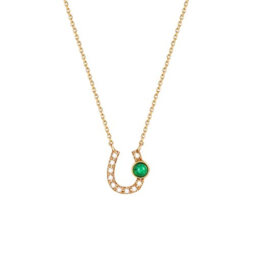 Western Necklace Earrings Heart Pendant - Carleen 18K Solid Yellow Gold Lucky Horseshoe Natural Emerald Diamond Necklace Pendant Dainty Fine Jewelry Women,16 inch