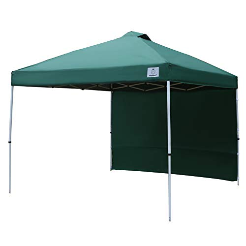 IsagapoY Pop up 10x10 Canopy Tent Compact Canopy, Portable Shade Instant Folding Better Air Circulation Canopy with Wheeled Bag,x1 Sidewall,x4 Canopy Sandbags,x4 Tent Stakes (Forest Green)