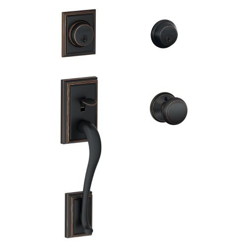 Schlage F62-ADD-AND Addison Collection Double Cylinder Entrance Handleset with A, Aged Bronze