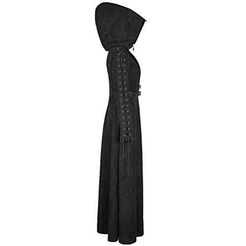 Punk Rave Women's Black Gothic Vintage Witch Hooded Coat Punk Long Jacket for Costume (M)