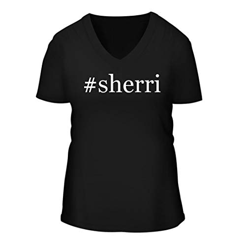 - #Sherri - A Nice Hashtag Women's Short Sleeve V-Neck T-Shirt Shirt, Black, Large