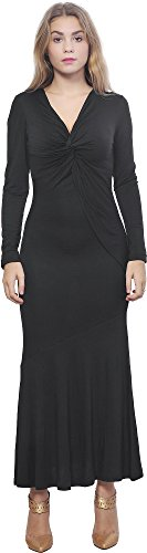 ng Sleeve Fishtail Midi Maxi Twist Draped Dress 20 Black (Twist Detail Jersey Dress)