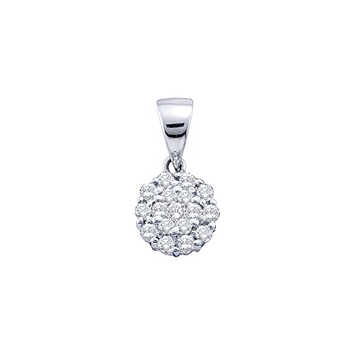 Roy Rose Jewelry 14K White Gold Womens Round Diamond Flower Cluster Pendant 1/4-Carat tw ()