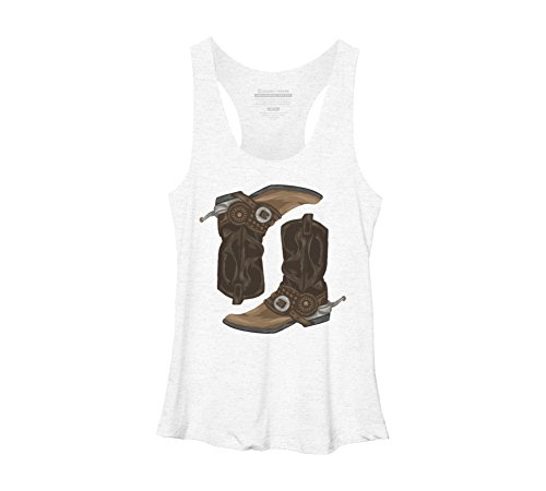 Cowboy Boots Women's Medium White Heather Racerback Tank Top - Design By Humans (White Boot Tops)