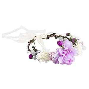 Flower Headband - Adjustable Floral Wreath Headband, Crown Garlands for Girls and Women - Great for Weddings, Festivals, Bridal Events, Parties, Hippies, Purple, One Size Fits Most, 6.5 x 7.5 Inches 9