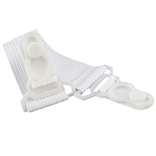 Elastic Clips - SODIAL(R)8pcs Fitted Bed Sheet Mattress Grippers Suspenders Elastic Garter Fastener Holder Clips Straps Rubber Button Hook White AEQW-WER-AW130494