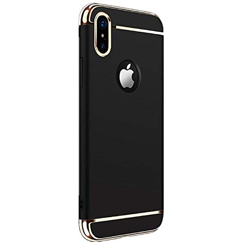 Case Compatible with iPhone X XS MAX Luxury Electroplating Premium 3 In 1 Shockproof Back Cover (XS MAX, black)