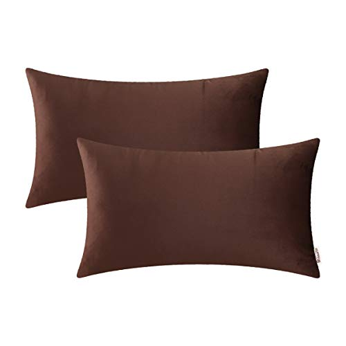 - Brawarm Cozy Bolster Pillow Covers Cases for Couch Bed Sofa Solid Velvet Soft Fleece Microfiber Short Plush Lumbar Cushion Covers for Home Decoration 12 X 20 Inches Coffee Pack of 2