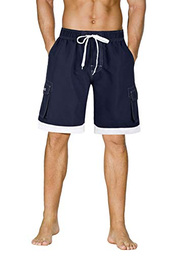 unitop Men's Summer Holidays Casual Quick Dry Bathing Boardshorts Blue 36