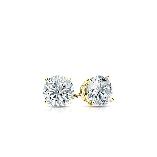 Diamond Wish 14k Yellow Gold Round Lab Grown Diamond Stud Earrings (1/4cttw, G-H, SI1-SI2) 4-Prong Basket, Push Back