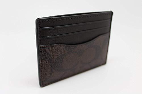 246c840d Coach Men's Slim Leather Card Case in Signature Canvas (Mahogany/Black)