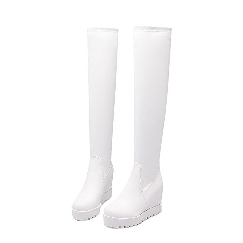 Solid on Heels Allhqfashion Women's Toe High Boots Round top High White Pull Closed tqqwAf1