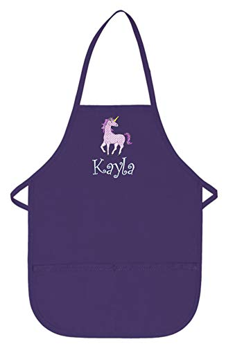 My Little Doc Personalized Purple Kids Apron with Unicorn Embroidery Design Poly/Cotton Twill Fabric Extra Large