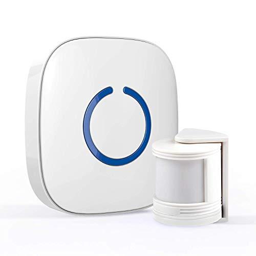 STARPOINT Expandable Wireless Doorbell Mini Motion Sensor Chime System – Base Starter Kit, 52 Chime Tunes, 4 Loud Levels, LED – 1 x Plugin Receiver 1 x Mini Motion Sensor, White