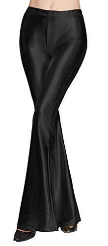 Tamskyt Womens Wide Leg Shiny Liquid Metallic Bell Botton Flared Palazzo Pants (One Size, ()