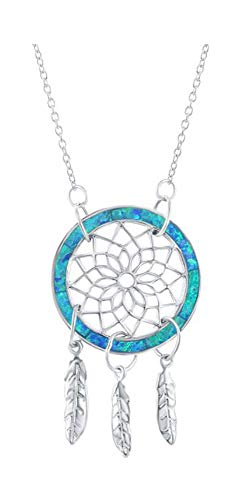 Sterling Silver 16 to 18 inch Adj Synthetic Blue Opal Inlay Dreamcatcher Pendant Necklace