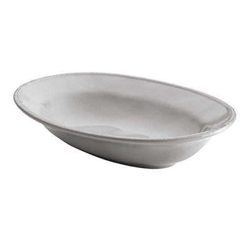 Rachael Ray Cucina Dinnerware 12-Inch Stoneware Oval Serving Bowl, Sea Salt Grey