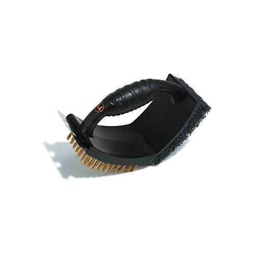 Outset QP43 V-Shaped Plastic Grill Brush with Pad and Scraper