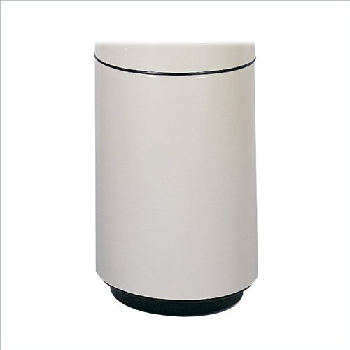 Medallion Collection® Fiberglass Two-Piece Receptacle 20 Gallon Trash Can with Paper Slotted Lid - Almond