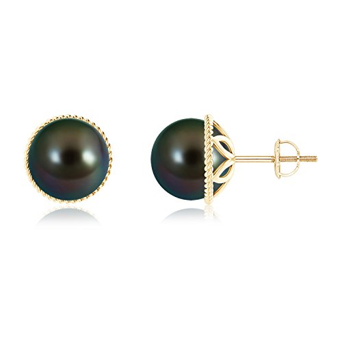 June Birthstone - Black Tahitian Cultured Pearl Earrings with Twisted Rope Frame in 14K Yellow Gold (9mm Tahitian Cultured Pearl) (14k Yg Frame)