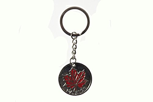 CANADA RED MAPLE LEAF Round Shape Metal Keychain ..SIZE : 3.3 Cm ( 1 3/8