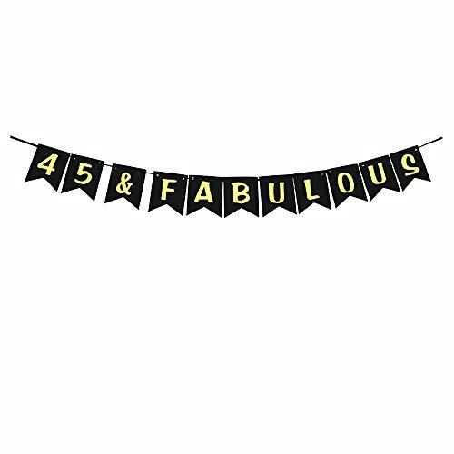 45 & Fabulous Party Banner,Gold Glitter 45th Birthday/Wedding