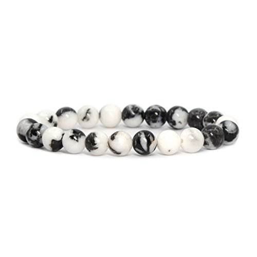 Natural Zebra Jasper Gemstone 8mm Round Beads Stretch Bracelet 7