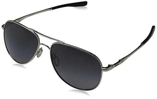 Oakley Elmont Round Sunglasses, Polished Chrome w/Grey Gradient Polarized, 58 mm (Oakley Crosshair)