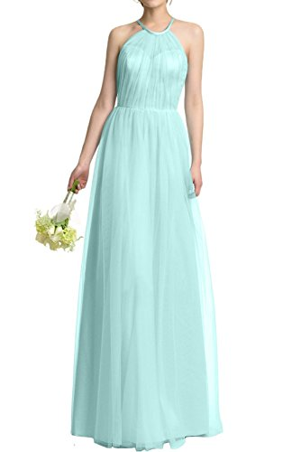 DressyMe Women's Party Dresses A-Line Halter Tulle Graduation Dress Sleeveless-14-Aqua
