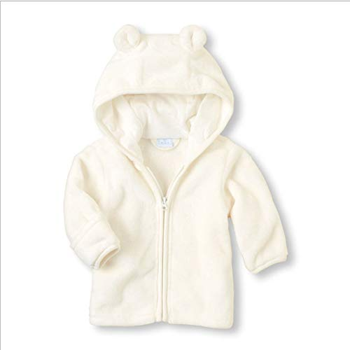 Noubeau Infant Baby Boys Girls Fleece Ears Hat with Lined Hooded Zipper Up Jacket Coat Tops Outwear Overcoat Warm Fall Winte (White, 18-24 Months) ()