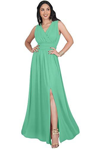 KOH KOH Petite Womens Long Bridesmaid Wedding Guest Cocktail Party Sexy Sleeveless Summer V-Neck Evening Slit Day Full Floor Length Gown Gowns Maxi Dress Dresses, Moss/Mint Green S 4-6