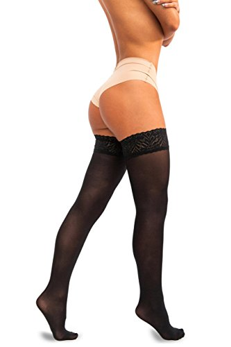 Black Opaque Stockings (sofsy Lace Thigh High Opaque Hold Up Nylon Pantyhose Stockings Silicone Top 60 Den [Made in Italy] Black 1/2 - X-Small/Small)