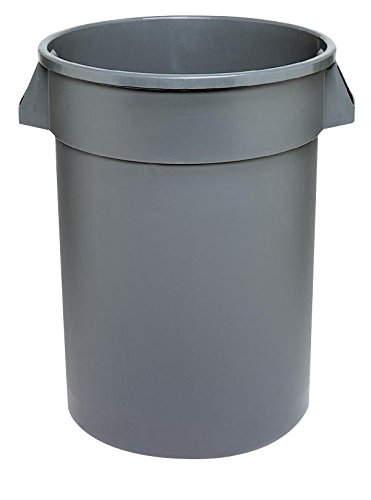 44 Gallon Trash Container - Continental 4444GY 44-Gallon Huskee Waste Receptacle,Round, Gray