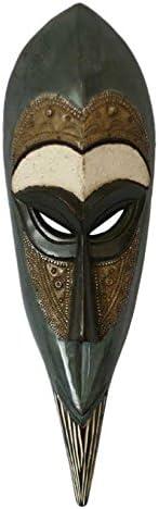 Novica Decorative Large Sese Wood And Aluminum Mask Black Faithful Warrior Home Kitchen