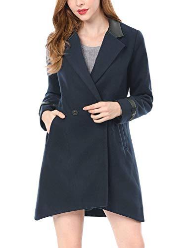 Blau D'extérieur Laine Manteau Manches Chic Coat Fashion Longues Épaisseur Outerwear De Warm Haute Hiver Femme Mode Qualité Loisir Battercake Elégante Revers Automne Vêtements Aw1qBYBx