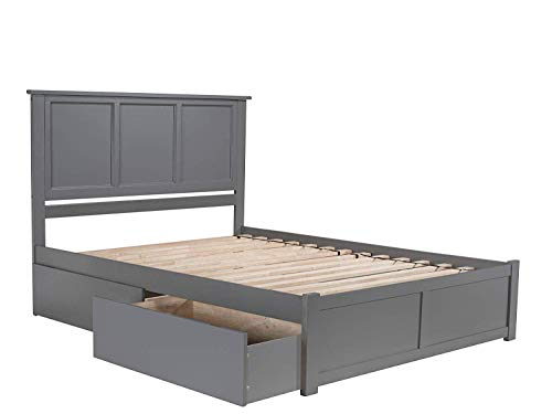 Atlantic Furniture AR8642119 Madison Platform Bed with 2 Urban Bed Drawers, Queen, Grey