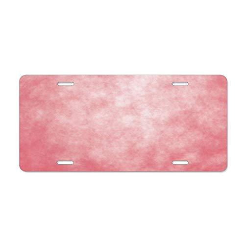 (Kingsinoutdoor Coral,Pale Spring Watercolor Design Girlish Tie Dye Abstract Color Texture Image,Coral Peach Salmon Aluminum Car Tag Sign Auto Tag Front License Plate 4 Holes (12X6))