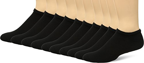 Fruit of the Loom Men's 10 Pack Low Cut No Show Socks, Black, Shoe Size: 6-12]()