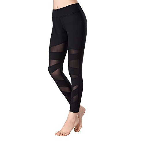 予防接種利益慎重Beepeak Women's Mesh Workout Tights Gym Sports Yoga Pant Leggings XL Black [並行輸入品]