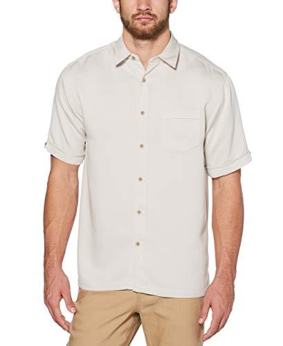 Cubavera Men's Short Sleeve Tonal Stitching Button-Down Cuban Camp Shirt, Lunar Rock, Extra ()