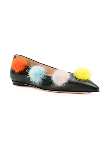 (Fendi Women's Leather Pom-Pom Ballerina Flat Shoes Black)