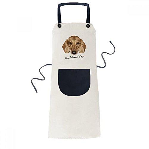Brown Short-leg Dachshund Dog Animal Cooking Kitchen Beige Adjustable Bib Apron Pocket Women Men Chef Gift