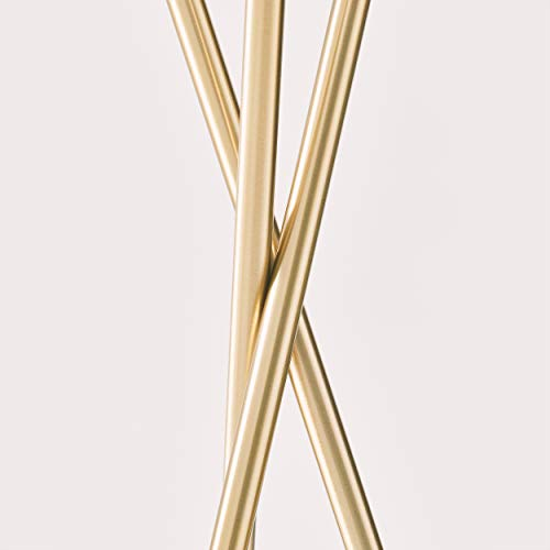 Brightech Jaxon - Mid Century Modern, Gold Tripod Floor Lamp for Living Room - Standing Light with Contemporary Drum Shade Matches Bedroom Decor, Gets Compliments - Tall Brass Lamp with LED Bulb